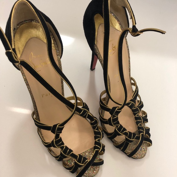best service 2f30e 1f726 Christian Louboutin black suede and gold heels 41
